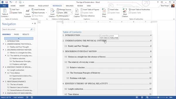 remove table of contents links in word document