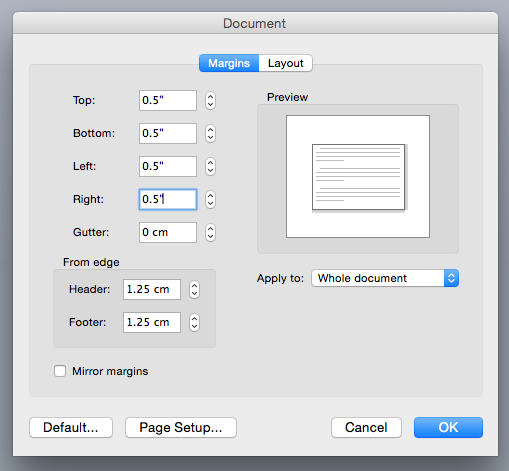 how to make one page of document landscape mac