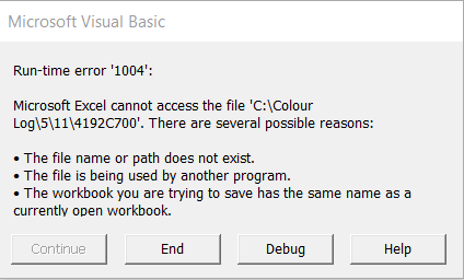 excel runtime error 1004 document not saved