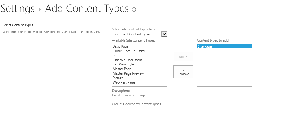add wiki page content type to document library