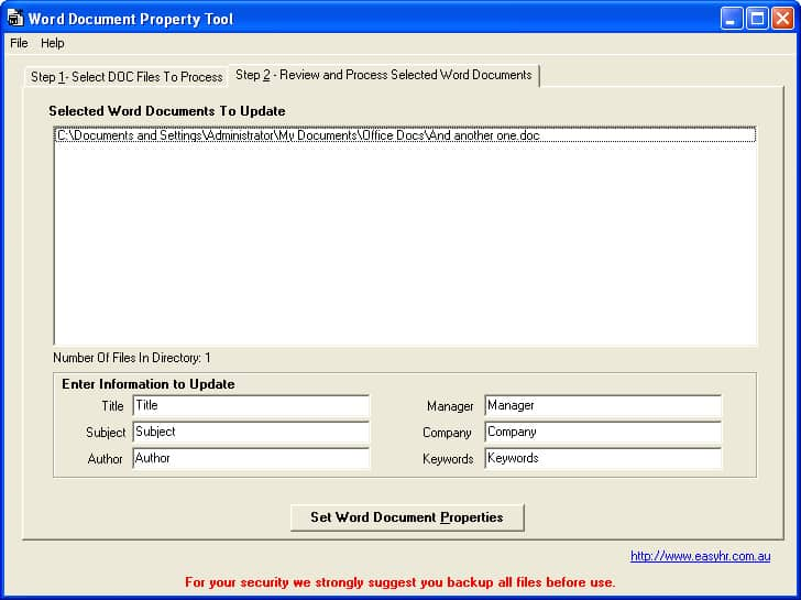 how to add document properties in word