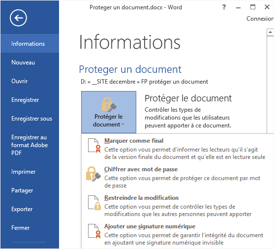 proteger un document word 2010 en lecture seule