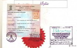how to get a document apostille in india