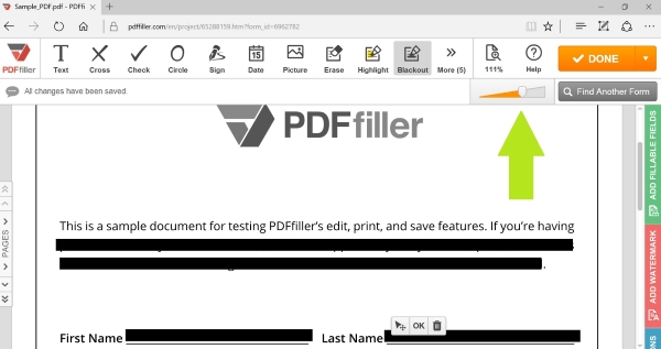 how to blackout text in a pdf document