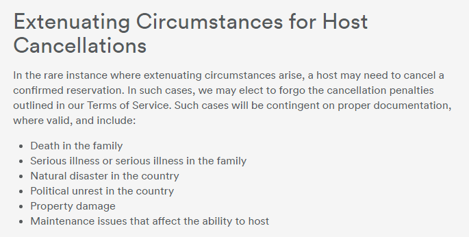airbnb extenuating circumstances documentation