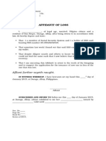 affidavit of loss document sample