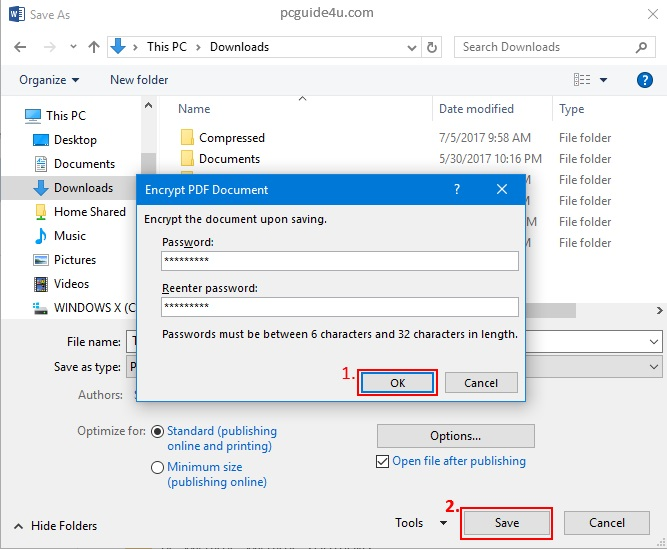 how to set up password for pdf document