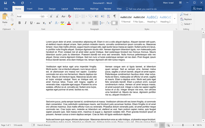 seperate word document two columns