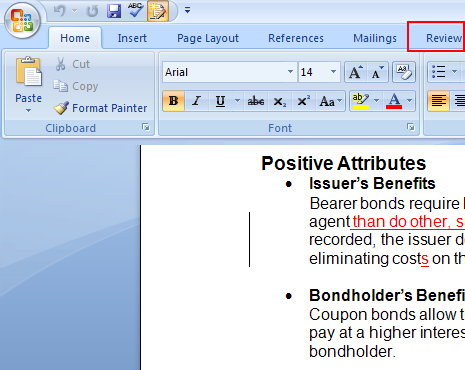 formatting a document in ms word 2007