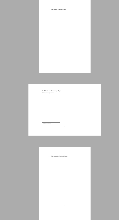 how to add landscape page in portrait document