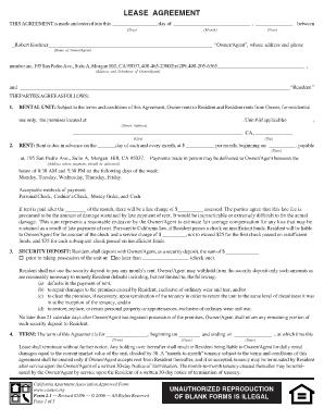 rental documentation new lease