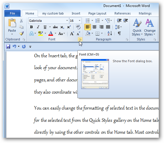 where is the size tab in a word document