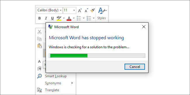 word crashes every time i copy a document